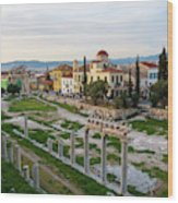 Remains Of The Roman Agora And Cityscape Of  Athens, Greece Wood Print