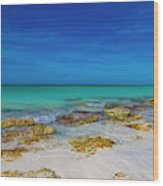 Remote Beach Paradise Turks And Caicos Wood Print