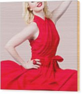 Retro Blond Pinup Woman Wearing A Red Dress Wood Print