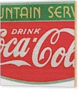 Retro Coke Sign Wood Print