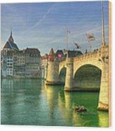 Rhine Bridge In Basel Wood Print