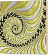 Ribbed Yellow Spiral Wood Print