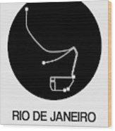 Rio De Janeiro Black Subway Map Wood Print