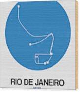 Rio De Janeiro Blue Subway Map Wood Print