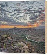 Rio Grande River Sunrise 2 - White Rock New Mexico Wood Print