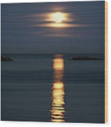 Rise Of The Full Harvest Moon Above Pacific Ocean Wood Print