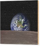 Rising Earth Over Moon Surface Wood Print
