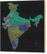 River Basins Of India In Rainbow Colours Wood Print