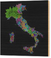 River Basins Of Italy In Rainbow Colours Wood Print
