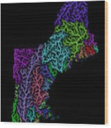 River Basins Of New England In Rainbow Colours Wood Print
