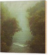 River In Fog Wood Print