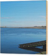 River Tweed Estuaryto Spittal, Pier With Lighthouse And Chimney Wood Print