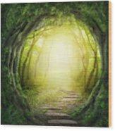 Road In Magic Dark Forest Wood Print