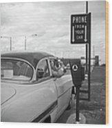 Roadside Public Telephone Wood Print