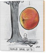Roald Dahl Gets A Book Idea Wood Print