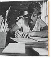 Robert Redford Writing At Desk Wood Print