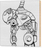 Robot Charging Wood Print