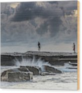 Rock Ledge, Spear Fishermen And Cloudy Seascape Wood Print