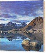 Rock Reflection Landscape Wood Print