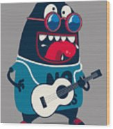 Rock Star Monster, Guitar Wood Print
