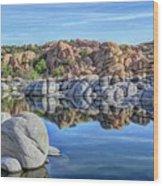 Rocks And Reflections Wood Print