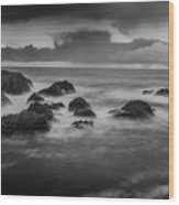 Rocks In The Storm Wood Print