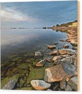 Rocks On Shore Line Wood Print