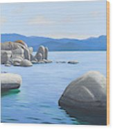 Rocky Cove On Lake Tahoe Wood Print