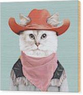 Rodeo Cat Wood Print