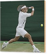 Roger Federer Of Switzerland In Action Wood Print