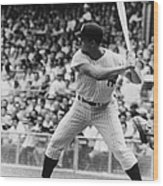 Roger Maris At Bat At Yankee Stadium Wood Print