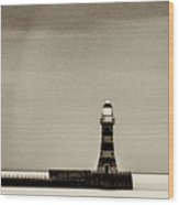 Roker Pier And Lighthouse In Sepia Wood Print