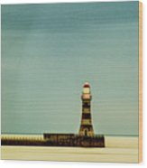 Roker Pier And Lighthouse Wood Print