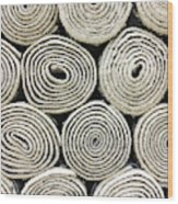 Rolled Rugs Background Wood Print
