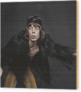 Rolling Stones Singer Wood Print