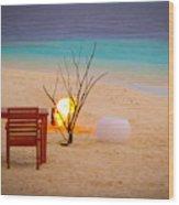 Romantic Beach Wood Print