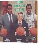 Ronald Reagan With Georgetown University Coach John Sports Illustrated Cover Wood Print