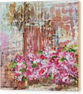 Rose Bundle With Copper Pot Wood Print
