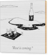 Rose Is Coming Wood Print