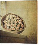 Roses On Window Wood Print