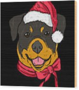 Rotweiler Xmas Hat Dog Pet Lover Christmas Wood Print
