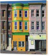 Row Houses Baltimore Wood Print