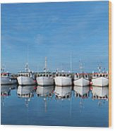 Row Of Boats With Reflection Wood Print