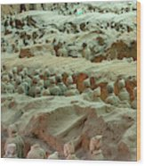 Rows Of Terra Cotta Warriors In Pit 1 Wood Print