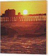 Ruby Sunset Oceanside Pier Wood Print