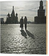 Russia, Moscow, Red Square, Silhouette Wood Print