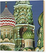 Russia, Moscow, Red Square, St Basils Wood Print