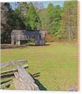 Rustic Double Crib Barn And Split Rail Fence In Cades Cove Wood Print