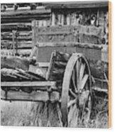 Rustic Horse Drawn Cart Wood Print