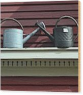 Rustic Watering Cans  Wood Print
